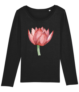 Lovely Lotus Orange Organic Long-Sleeve T-shirt
