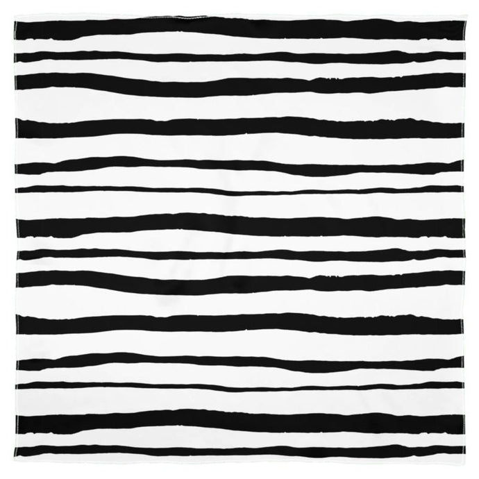 Watercolour Black and White Stripes Scarf