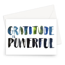 Load image into Gallery viewer, Hand-painted watercolour typography. Gratitude is associated with happiness, positive feelings, even improved health. It can reduce stress, help us deal with anxiety, make us kinder, more compassionate, and thankful for the simple yet beautiful things in our lives. Gratitude, and appreciation, strengthen us from within and yes, that's powerful. Practice it daily!