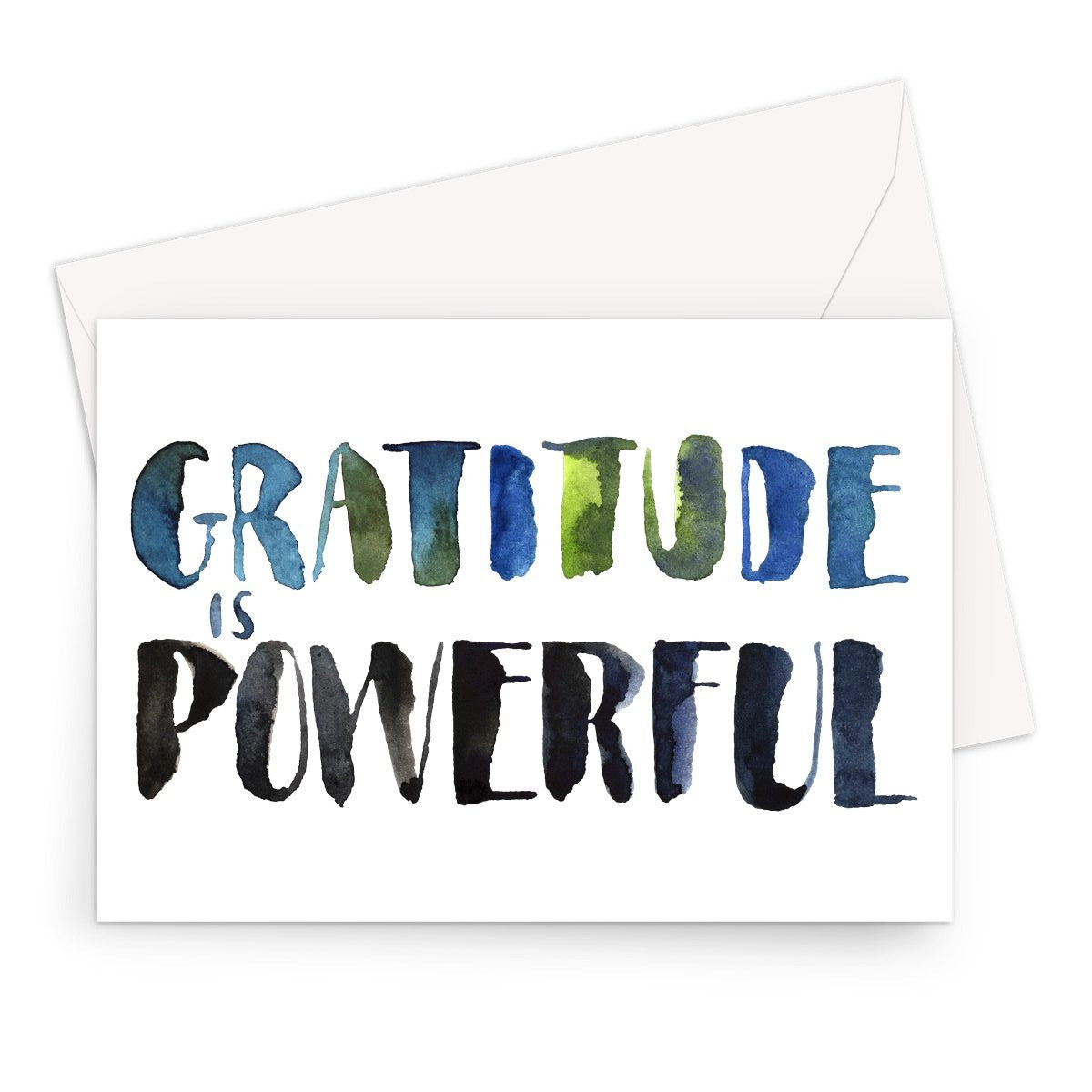 Hand-painted watercolour typography. Gratitude is associated with happiness, positive feelings, even improved health. It can reduce stress, help us deal with anxiety, make us kinder, more compassionate, and thankful for the simple yet beautiful things in our lives. Gratitude, and appreciation, strengthen us from within and yes, that's powerful. Practice it daily!