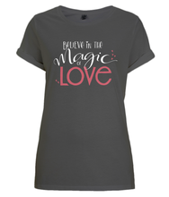 Load image into Gallery viewer, Magic of Love White Organic Rolled Sleeve T-Shirt