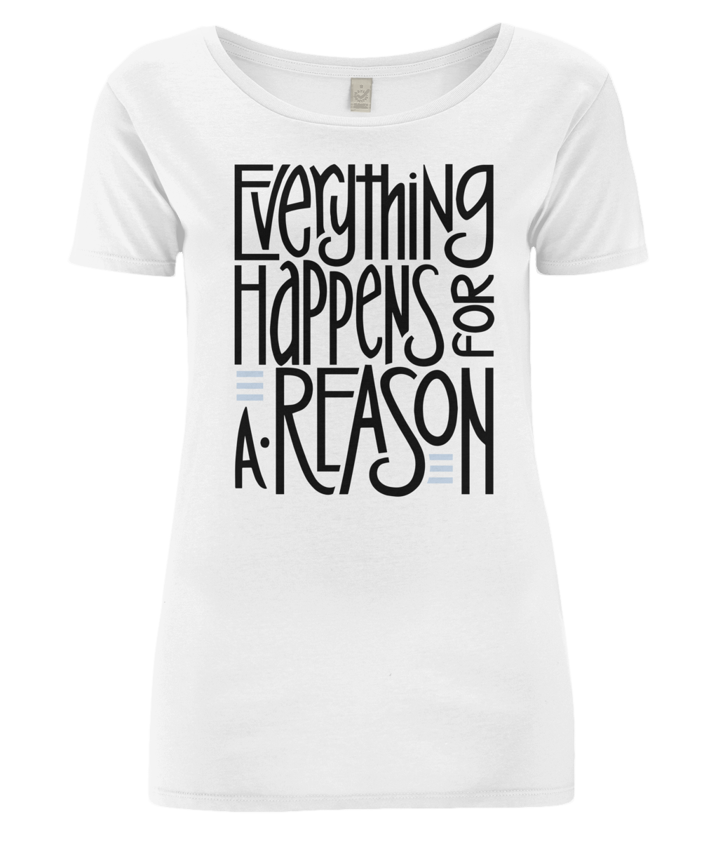 Everything Happens Organic Open Neck T-Shirt