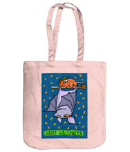 Load image into Gallery viewer, Grouchy Bat Cat Halloween Organic Spring Tote