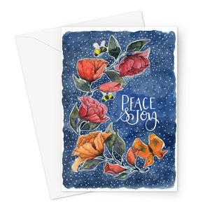 Rambling Rose Peace and Joy Blue Eco-friendly Greeting Card