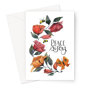 Rambling Rose Peace and Joy Eco-friendly Greeting Card