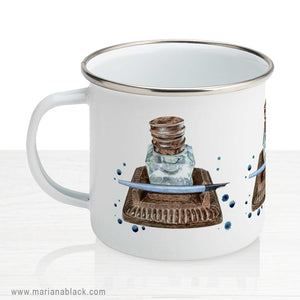 Antique Inkwell Enamel Mug