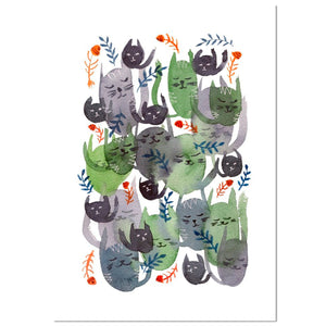 An abstract, fun, noisy and messy watercolour of cats, fishbones, and leaves. Perfect for feline lovers!