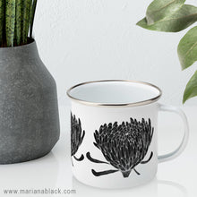 Load image into Gallery viewer, Chrysanthemum Crowd Black Enamel Mug