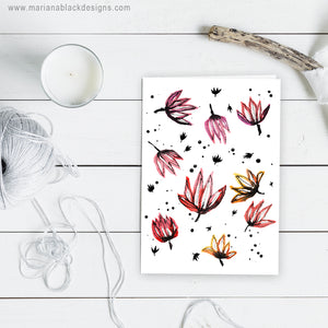 Dancing Lotus Flowers A5 Eco-Friendly Greeting Card