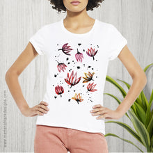 Load image into Gallery viewer, Dancing Lotus Flowers Organic Rolled Sleeve T-shirt