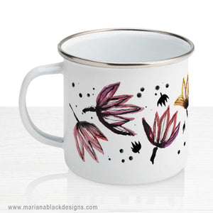Dancing Lotus Flowers Enamel Mug