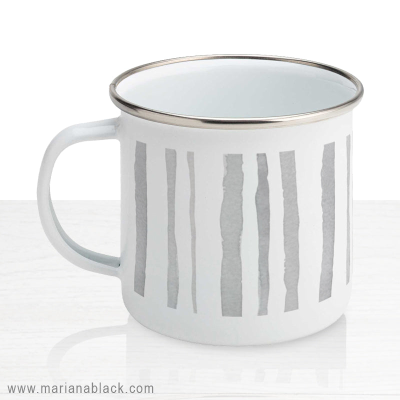 Watercolour Grey Stripes Enamel Mug