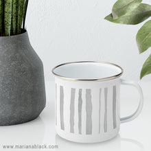 Load image into Gallery viewer, Watercolour Grey Stripes Enamel Mug