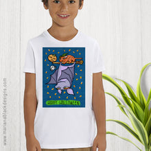 Load image into Gallery viewer, Halloween Grouchy Bat Cat organic children's t-shirt