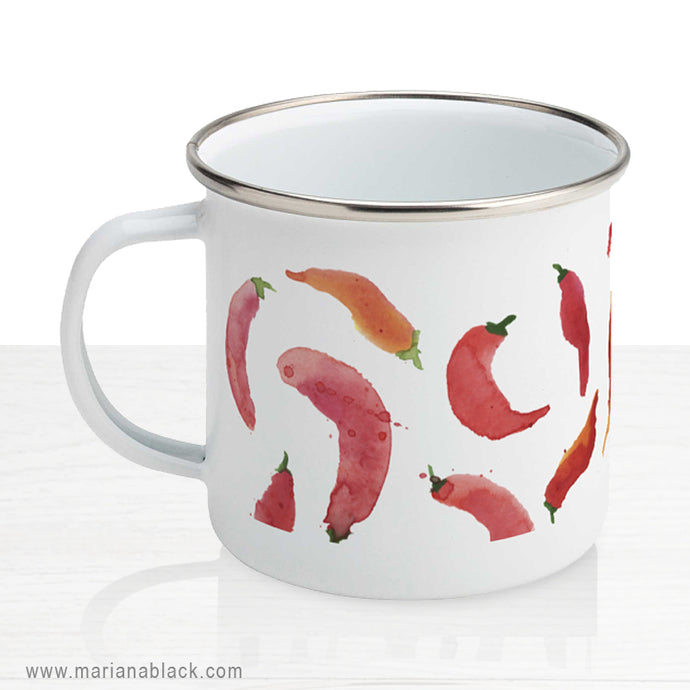 Hot and Spicy Chillies Enamel Mug
