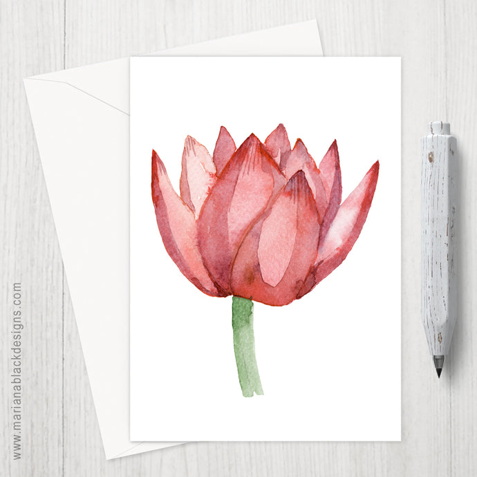 Lovely Lotus Orange Eco-Friendly Greeting Card