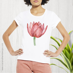 Lovely Lotus Orange Organic Rolled Sleeve T-Shirt