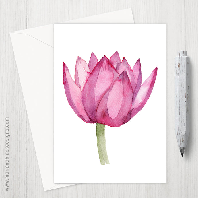 Lovely Lotus Pink Eco-Friendly Greeting Card