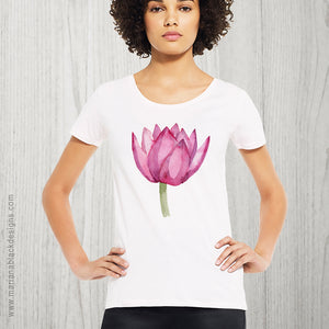 Lovely Lotus Pink Organic Open Neck T-Shirt