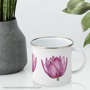 Lovely Lotus Pink Enamel Mug