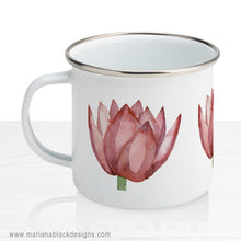 Load image into Gallery viewer, Lovely Lotus Orange Enamel Mug