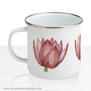 Lovely Lotus Orange Enamel Mug