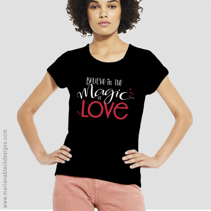 Magic of Love White Organic Rolled Sleeve T-Shirt