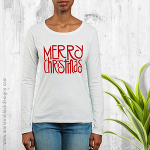 Merry Christmas Red Organic Long-Sleeve T-shirt