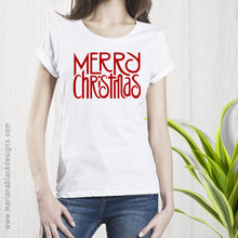 Load image into Gallery viewer, Merry Christmas Red Organic Rolled Sleeve T-Shirt