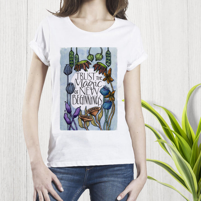 New Beginnings Organic Rolled Sleeve T-Shirt
