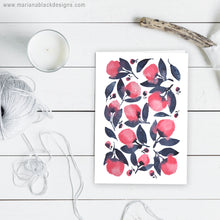 Load image into Gallery viewer, Pink Indigo Watercolour Flowers Greeting Card