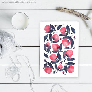 Pink Indigo Watercolour Flowers Greeting Card