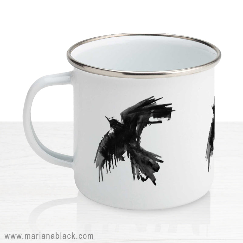 Raven Flight Enamel Mug