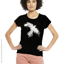 Load image into Gallery viewer, Raven Flight White Organic Rolled Sleeve T-Shirt