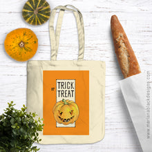 Load image into Gallery viewer, Trick or Treat Pumpkin Halloween Organic Spring Tote