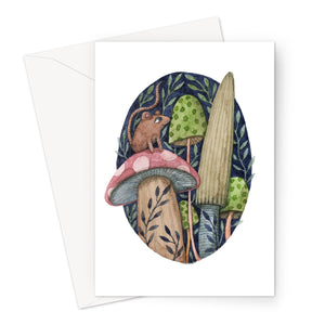 Mouse on Mushrooms Eco-friendly Greeting Card