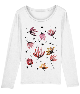 Dancing Lotus Flowers Organic Long-Sleeve T-shirt