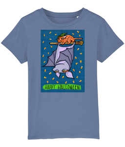 Grouchy Bat Cat Halloween Organic Mini Creator Children's T-shirt