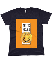 Load image into Gallery viewer, Trick or Treat Pumpkin Halloween Organic Classic Jersey T-Shirt