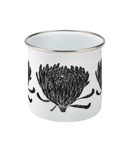 Chrysanthemum Crowd Black Enamel Mug