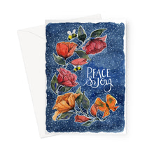 Load image into Gallery viewer, Rambling Rose Peace and Joy Blue Eco-friendly Greeting Card