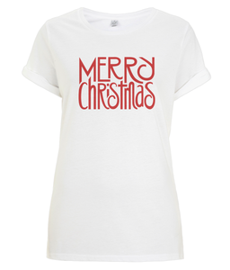 Merry Christmas Red Organic Rolled Sleeve T-Shirt