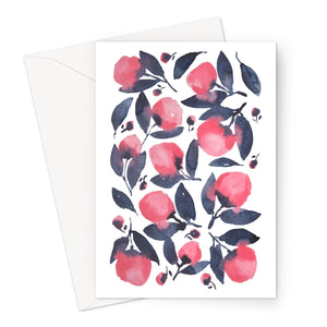 Pink Indigo Watercolour Flowers Eco-friendly Greeting Card