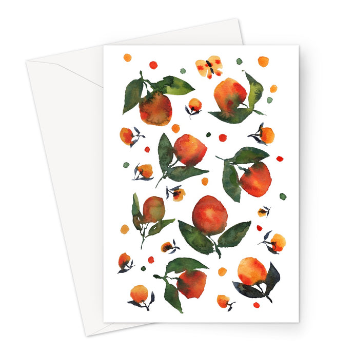 Orange Green Watercolour Flowers Eco-Friendly Greeting Card