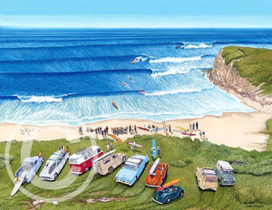 "Mattered Print - Bell Beach Surf Comp Easter 1963 - 11x14"" - Cronulla Living"