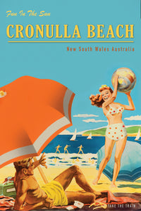 Microfibre Tea Towel - Cronulla Beach - Girl with Beach Ball