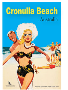 Microfibre Tea Towel - Cronulla Beach - Girl with Hat