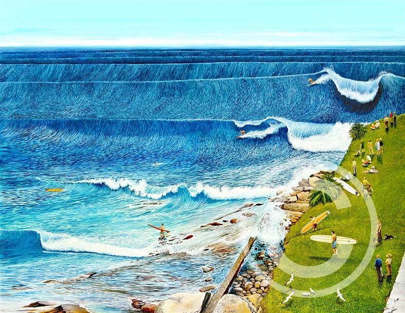 Cronulla Point Goin Off - Gary Birdsall Surf Art- 11x14