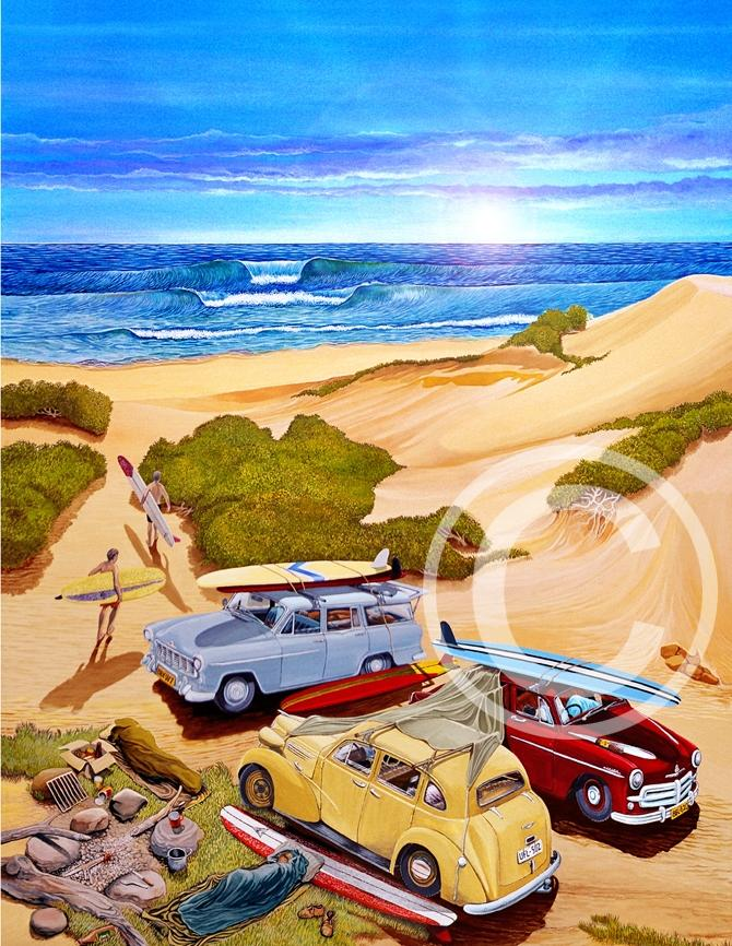 Garry Birdsall - Mattered Print - First Surf Of The Day - 11x14""