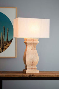 George Wooden Ballister Table Lamp with Shade